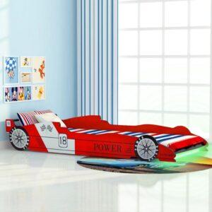Cama carro de corrida LED para crianças 90x200 cm vermelho - PORTES GRÁTIS