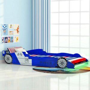 Cama carro de corrida LED para crianças 90x200 cm azul - PORTES GRÁTIS