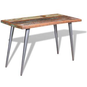 Mesa de jantar madeira reciclada maciça 120x60x76 cm - PORTES GRÁTIS