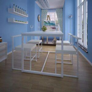 Conjunto mesa e cadeiras de jantar 5 pcs branco - PORTES GRÁTIS