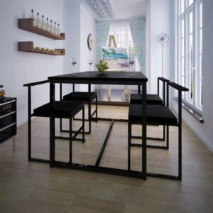 Conjunto mesa e cadeiras de jantar 5 pcs preto - PORTES GRÁTIS