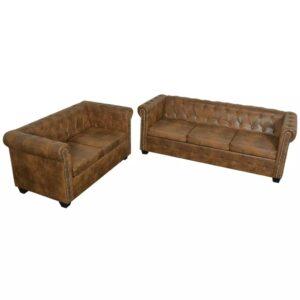 Conjunto de sofás de 2 + 3 lugares, Chesterfield, castanho  - PORTES GRÁTIS