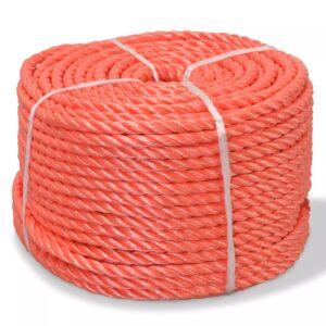 Corda torcida em polipropileno 12 mm 100 m laranja - PORTES GRÁTIS