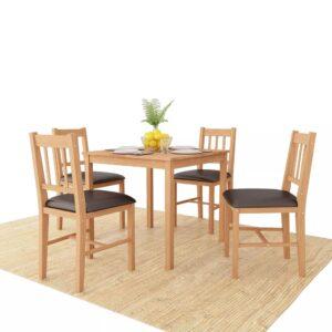 Conjunto de sala de jantar 5 pcs carvalho maciço - PORTES GRÁTIS