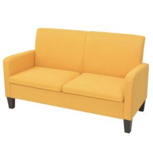 Sofá de 2 lugares 135x65x76 cm amarelo - PORTES GRÁTIS