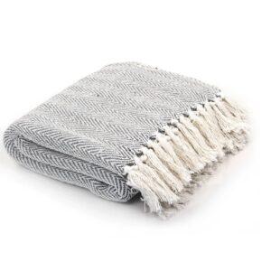 Manta em algodão 220x250 cm padrão espinha cinzento - PORTES GRÁTIS