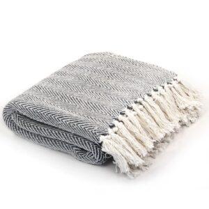 Manta em algodão 125x150 cm padrão espinha azul-marinho - PORTES GRÁTIS