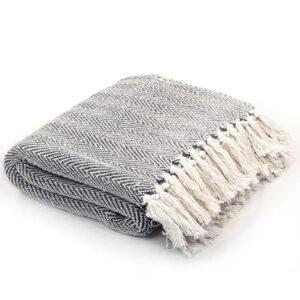 Manta em algodão 220x250 cm padrão espinha azul-marinho - PORTES GRÁTIS