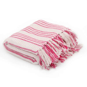 Manta em algodão às riscas 160x210 cm rosa e branco - PORTES GRÁTIS