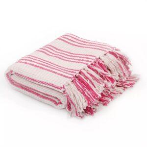 Manta em algodão às riscas 220x250 cm rosa e branco - PORTES GRÁTIS