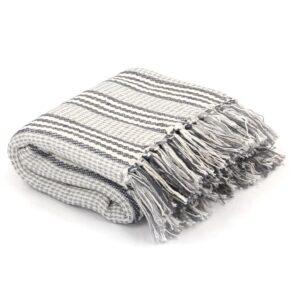 Manta em algodão às riscas 220x250 cm cinzento e branco - PORTES GRÁTIS