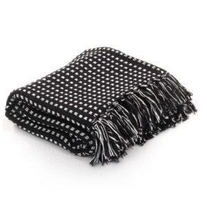 Manta em algodão aos quadrados 220x250 cm preto - PORTES GRÁTIS