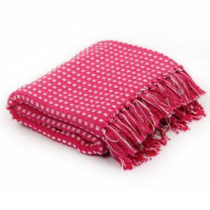 Manta em algodão aos quadrados 160x210 cm rosa - PORTES GRÁTIS