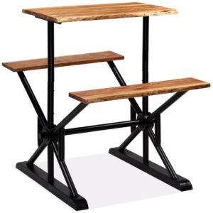 Mesa de bar com bancos madeira de acácia maciça 80x50x107 cm  - PORTES GRÁTIS