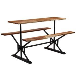 Mesa de bar com bancos madeira de acácia maciça 180x50x107 cm  - PORTES GRÁTIS