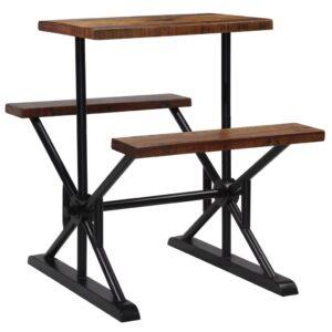 Mesa de bar com bancos madeira recuperada maciça 80x50x107 cm  - PORTES GRÁTIS