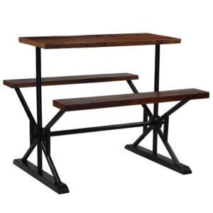 Mesa de bar com bancos madeira recuperada maciça 120x50x107 cm  - PORTES GRÁTIS
