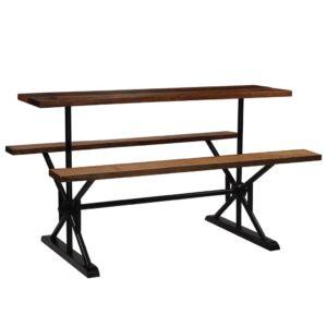 Mesa de bar com bancos madeira recuperada maciça 180x50x107 cm  - PORTES GRÁTIS