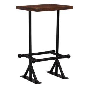 Mesa de bar em madeira recuperada 60x60x107 cm castanho escuro  - PORTES GRÁTIS