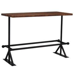 Mesa de bar em madeira recuperada 150x70x107 cm castanho escuro  - PORTES GRÁTIS