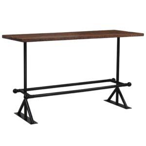 Mesa de bar em madeira recuperada 180x70x107 cm castanho escuro  - PORTES GRÁTIS