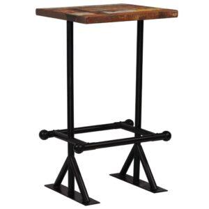 Mesa de bar madeira recuperada maciça multicolor 60x60x107 cm  - PORTES GRÁTIS