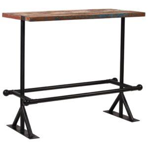 Mesa de bar madeira recuperada maciça multicor 120x60x107 cm - PORTES GRÁTIS
