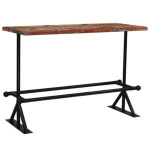 Mesa de bar madeira recuperada maciça multicor 150x70x107 cm  - PORTES GRÁTIS