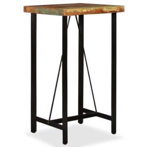 Mesa de bar em madeira recuperada maciça 60x60x107 cm - PORTES GRÁTIS