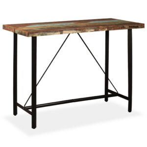 Mesa de bar em madeira reciclada maciça 150x70x107 cm - PORTES GRÁTIS