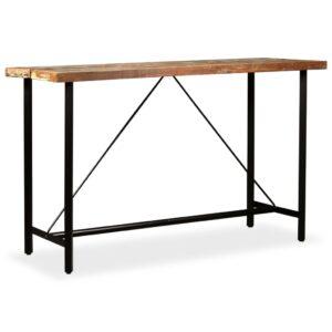 Mesa de bar em madeira reciclada maciça 180x70x107 cm - PORTES GRÁTIS