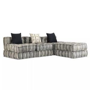 Sofá-cama modular de 3 lugares em tecido às riscas - PORTES GRÁTIS