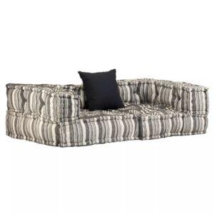 Sofá modular de 2 lugares c/ apoios de braços tecido às riscas - PORTES GRÁTIS
