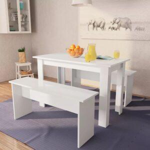 Mesa e bancos de jantar 3 pcs aglomerado branco  - PORTES GRÁTIS