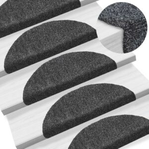 15 Tapetes de escada adesivos 54x16x4 cm cinzento escuro - PORTES GRÁTIS