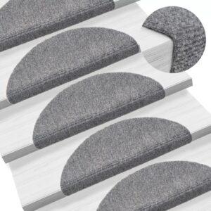 15 Tapetes de escada adesivos 54x16x4 cm cinzento claro - PORTES GRÁTIS