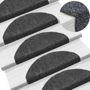 15 Tapetes de escada adesivos  65x21x4 cm cinzento escuro - PORTES GRÁTIS