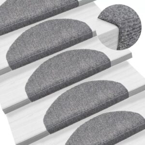 15 Tapetes de escada adesivos 65x21x4 cm cinzento claro - PORTES GRÁTIS