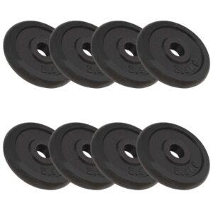 Discos de musculação 8 pcs 20 kg ferro fundido - PORTES GRÁTIS