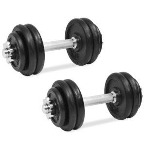 Conjunto de halteres 18 pcs 30 kg ferro fundido - PORTES GRÁTIS