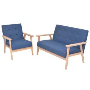 Conjunto de sofás 2 pcs tecido azul  - PORTES GRÁTIS