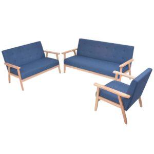Conjunto de sofás 3 pcs tecido azul - PORTES GRÁTIS