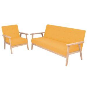 Conjunto de sofás 2 pcs tecido amarelo - PORTES GRÁTIS