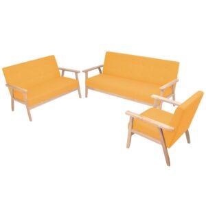 Conjunto de sofás 3 pcs tecido amarelo - PORTES GRÁTIS