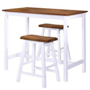 Conjunto mesa e bancos de bar 3 pcs madeira maciça - PORTES GRÁTIS