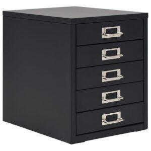 Armário de arquivo com 5 gavetas metal 28x35x35 cm preto - PORTES GRÁTIS