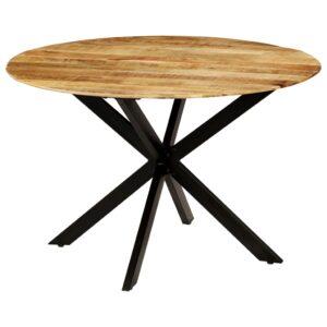 Mesa jantar madeira de mangueira maciça áspera + aço 120x77 cm - PORTES GRÁTIS