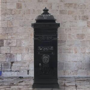 Caixa correio coluna estilo vintage alumínio inoxidável preto - PORTES GRÁTIS