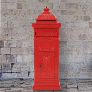 Caixa correio coluna vintage alumínio inoxidável vermelho - PORTES GRÁTIS