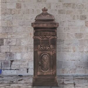 Caixa correio coluna estilo vintage alumínio inoxidável bronze - PORTES GRÁTIS